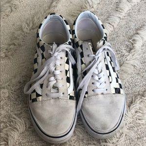White checkered Vans